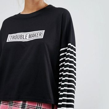 The Ragged Priest Long Sleeve T-Shirt With Trouble Maker Print at asos.com