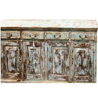 Rustic Distressed Blue Sideboards Drawer Chest Dresser Storage