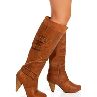 Chestnut Double Buckle Heel Boots