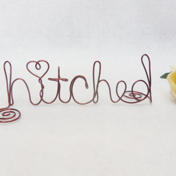 Wedding Cake Topper - Hitched - Brown Wire