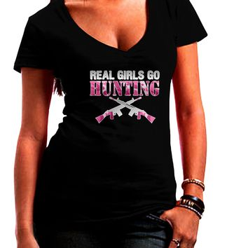 Real Girls Go Hunting Juniors Petite V-Neck Dark T-Shirt