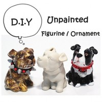3 Pcs. Unpainted American Pit Bull Terrier Dog Lover Figurine Ornament | madamepomm - Earth Friendly on ArtFire