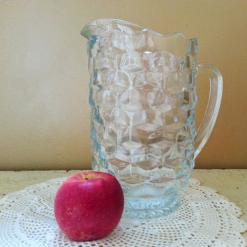 American Whitehall Cube Pattern Water Pitcher Colony Glass