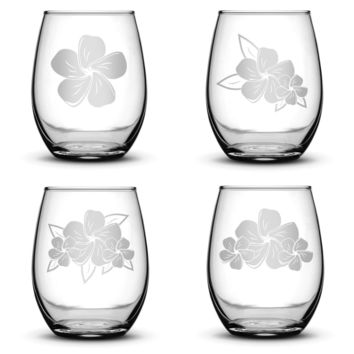 Set of 4, Plumeria Stemless Wine Glasses, Made in USA, Hand Etched
