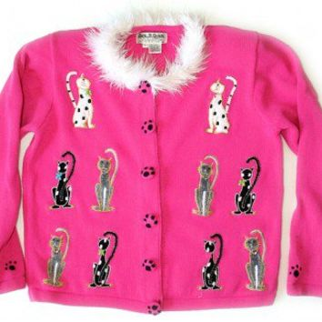 Jack B Quick Fuzzy Pink Kitty Tacky Ugly Cat Lady Sweater/Cardigan Women's Size Medium (M) $30 - The Ugly Sweater Shop
