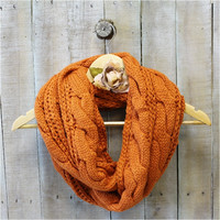 Scarf, Scarves, infinity scarf, scarves for women, scarves knit, CUDDLY CARDIGAN Pumpkin Spice | SC31