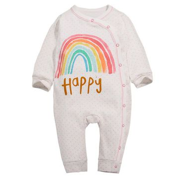 y350 Free shipping Autumn cotton baby clothes male and female baby Romper open buckle long-sleeved leotard happy rainbow pattern