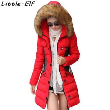 Little Elf! Winter Jacket Women Parka Fur Collar Hooded Thickening Cotton Padded Winter Coat Manteau Femme AA0041SY