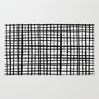 Essie - Grid, Black and White, BW, grid, square, paint, design, art Rug by CharlotteWinter
