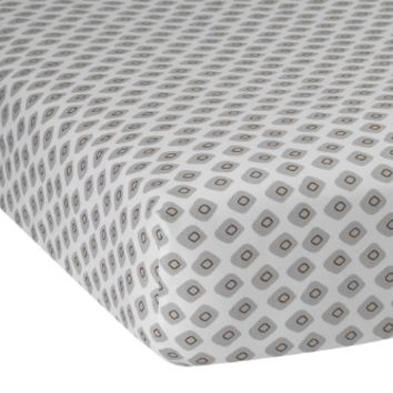 Lambs & Ivy Jett Collection Gray/Brown/White Geometric Baby Fitted Crib Sheet