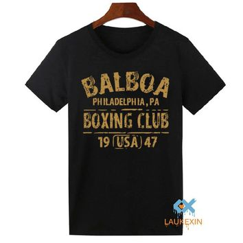 New Summer BALBOA BOXING CLUB ROCKY Movie Gloves Retro Set Gym Men's T-Shirt GYM Clothing Cool Tops Tee Shirts Hipster Tshirt