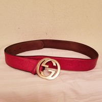 Gucci Women's Leather Belt GG Logo Size 38/95 cm