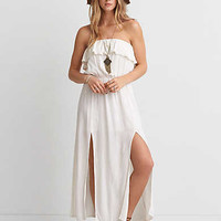 AEO Ruffle Strapless Maxi Dress , White