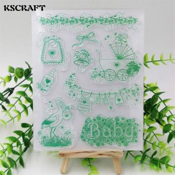 KSCRAFT Baby And Bear Transparent Clear Silicone Stamp/Seal for DIY scrapbooking/photo album Decorative clear stamp sheets