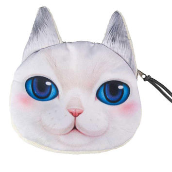 White Blue Eyes Persian Cat Coin Purse