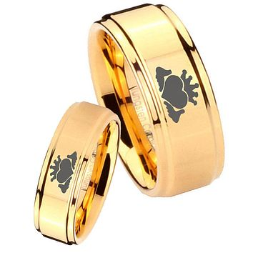 His Her Glossy Step Edges Claddagh Design 14K Gold IP Tungsten Wedding Rings Set