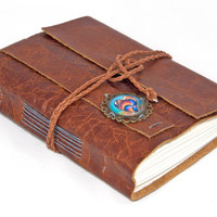 Rustic Brown Leather Wrap Journal with Heart Cameo Bookmark - Ready to Ship -