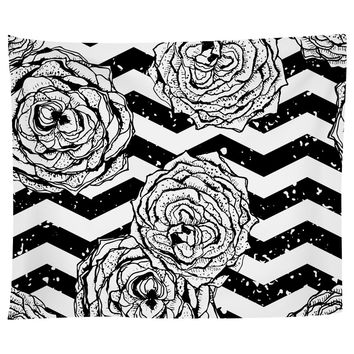 Chevron Hipster Flowers Tapestry
