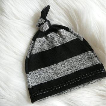 Boy Hospital Hat Black and gray stripes Soft by lippybrand on Etsy