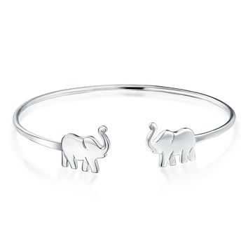 Thin Lucky Elephant Bangle Cuff Bracelet High 925 Sterling Silver