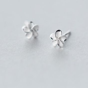 6mm SMALL/ Tinny Real. 925 Sterling Silver jewelry White Enamel Daisy Hibiscus Flower Plumeria Hawaii stud Earrings GTLE1253
