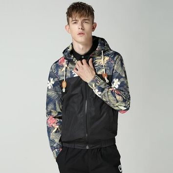 M-4XL Man's Hooded Hoodies Patchwork Hooded Mens Jackets Floral Windbreaker Jacket Men Fashion Bomber Jacket