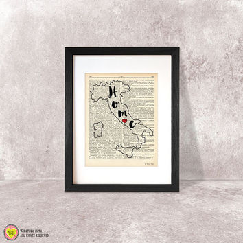 Italia state map print-Italia state dictionary print-Italia state wall art-personalized map print-wedding gift-home decor-NATURA PICTA-DP051