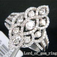 Unique Flower 1.10ct Diamonds 14K White Gold Pave Engagement Wedding Ring Size 7