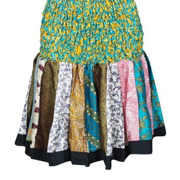 Boho Chic Flared Skirt RUCHED Waist Silk Vintage Printed Colorful Skater Skirts