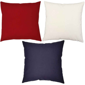 Trio of Red, White and Blue Throw Pillows - Set of Three Solid Color Pillow Covers with or without Cushion Inserts - Summer Decor, Americana