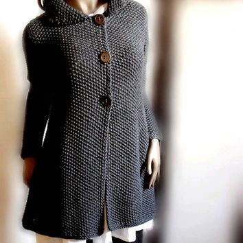 Womens hand knit sweater Merino wool long cardigan coat Charcoal Grey Many colors available
