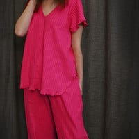 Hot Pink V Short Sleeve Top & Palazzos Cotton Stripe, Made In The USA | Simple Pleasures, Inc.