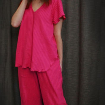 Hot Pink V Short Sleeve Top & Palazzos Cotton Stripe, Made In The USA   Simple Pleasures, Inc.