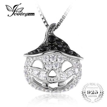 JewelryPalace Halloween Pumpkin 1.7ct Genuine Black Spinel Pendant Necklace 925 Sterling Silver Chain 18 Inches