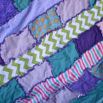 Baby Girl Rag Quilt in Purple, Turquoise, Pink, Green Chevron, READY TO SHIP
