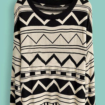 Black Beige Long Sleeve Geometric Print Pullovers Sweater - Sheinside.com