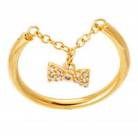 Chain Bow Tie Charm Ring