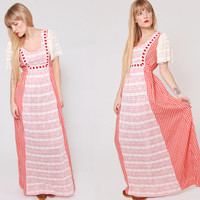Vintage 70s GINGHAM Prairie Dress Red and White Checker LACE Retro VALENTINE Maxi Dress