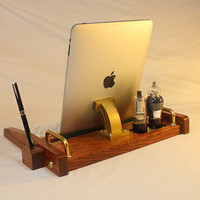 iPad Tablet Workstation - Keyboard - Tablet  Dock  - Tube Model Steampunk - Oak -  With Pen Stylist - Desktop Workstation