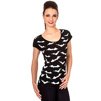 Rockabilly Spooky Night Bats Attack black Tee