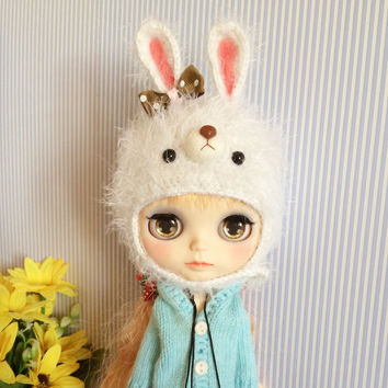 Blythe Furry Bunny Hat | Doll Hat | Doll accessories