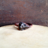 Meteorite Ring - Raw Stone Ring - Electroformed Ring - Unique Ring - Copper - Size 8.5