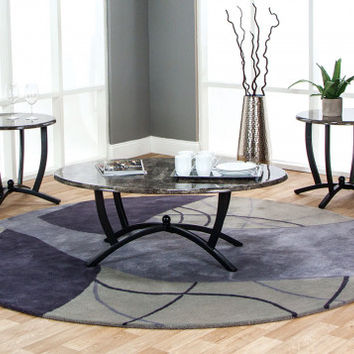 Ebony and Gray Marble Coffee Table Set   Electra 3 Piece Table Set   American Freight