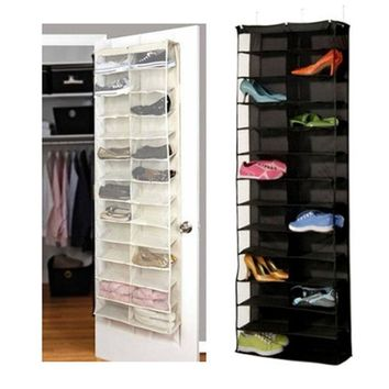 2016 Fashion Modern Home Space Saving 26-Pocket Shoe Rack Storage Organizer Holder Hook Folding Hanging on Door Closet Free Ship