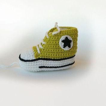 MDIG91W Lemon green crochet baby sneakers, Baby crochet shoes, Converse baby booties, Converse