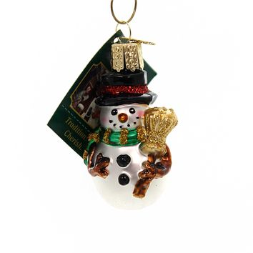 Old World Christmas Miniature Mr. Snowy Glass Ornament