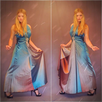 Ombre liquid satin dress / vintage silky maxi gown / Halter neck diamante boho shimmering slinky party frock