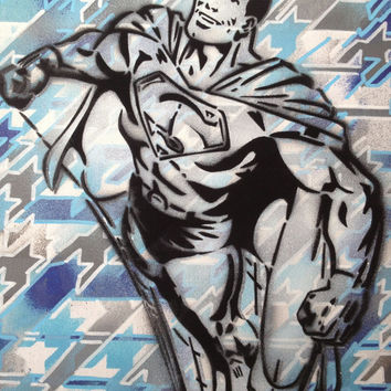 1 DIGITAL DOWNLOAD,Superman v Houndstooth,stencils,spraypaints,comics,superhero,blues,America,Europe,hand made,home,living,dc comics,pop art