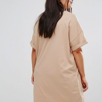 ASOS CURVE Ultimate T-Shirt Dress with Rolled Sleeves at asos.com
