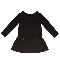 Kardashian Kids Girls Black Drop Waist Dress with Quilted Skirt and Brass Button Detailing- Toddler